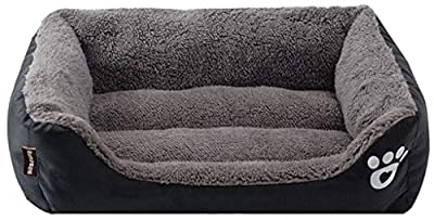 Furpazven Dog Pet Cat Bed Warmer Extra Waterproof Beds Soft Washable Comfort Sofa Black Small(45 * 35 * 12CM) from Furpazven