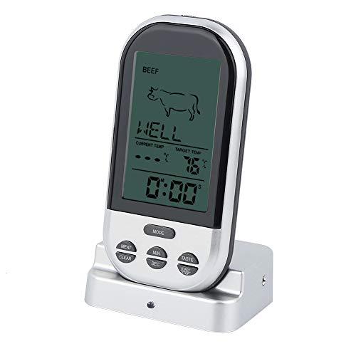 Termómetro para barbacoa inalámbrico, 18,5 x 10,5 x 5,5 cm, termómetro digital para carne fabricado en plástico