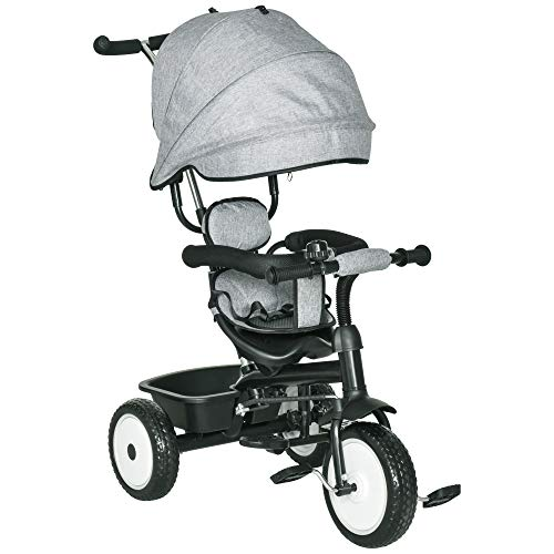 Qaba Baby Tricycle 2 in 1 Stroller with Adjustable Canopy Detachable Guardrail Safety Belt for Age 6-60 Months, Grey