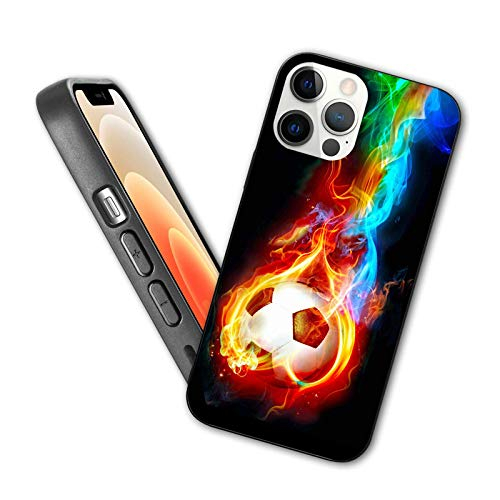 Ball Compatible with New iPhone 12 Series 2020 Case Flaming Soccer Ball Flexible Slim TPU Case Design for iPhone 12 Pro Max 6.7',Red Blue