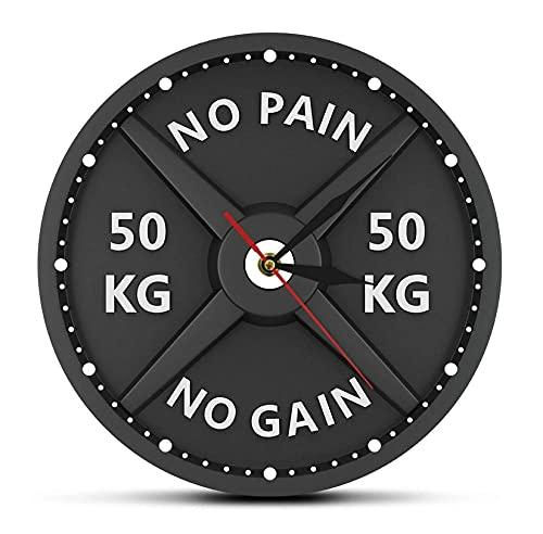50 kg bilanciere 3D orologio da parete moderno sollevamento pesi manubri bodybuilding orologio da parete allenamento palestraregalo (30Cm)