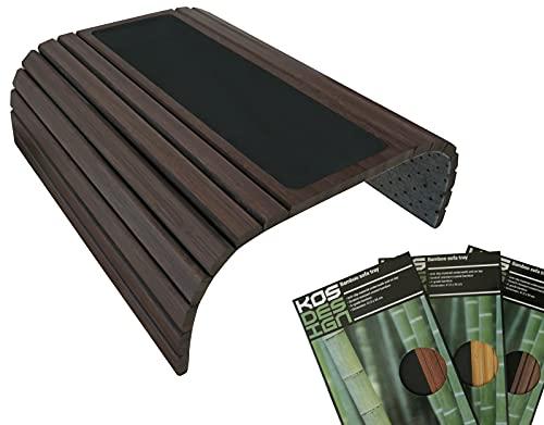 Kos Design Bandeja de bambú para reposabrazos con antideslizante para todos los reposabrazos. Color natural oscuro se adapta a cualquier interior.