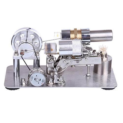 AMITAS Stirlingmotor Bausatz Generator Metall Einzylinder Metall Fortgeschritten Stirlingmotor DIY Modell Geniale Physik gepackt