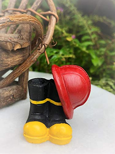 Dollhouse Mini Fire Fighter Fireman Helmet & Boots - Miniature Magic Scene Supplies Your Fairy Garden - Outdoor House Decor