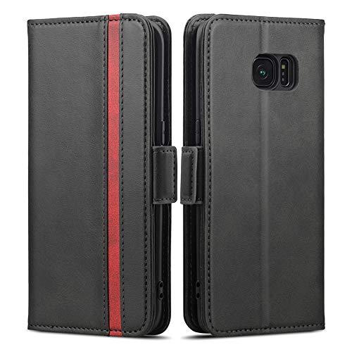 Rssviss Coque Samsung Galaxy S7 Edge, Housse Galaxy S7 Edge en Cuir PU, Protection S7 Edge[4 Emplacements pour Cartes et Monnaie] avec [Fermeture Magnétique] S7 Edge Etui Portefeuille Rabat 5.5' Noir