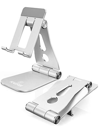 KAERSI Cell Phone Stand, 2 Hinge Adjustable, Foldable Phone Stand Holder Cradle Dock for Desk, Home, Office, Travel. Compatible with Smartphone Android, iPhone 11 Xs XR 8 7 Plus, Tablet iPad (Silver)