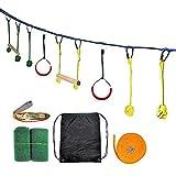 Lumemery Ensemble de Parcours d'obstacles Ninja 44FT Ninja Slackline Kids Kit de Jeux pour...