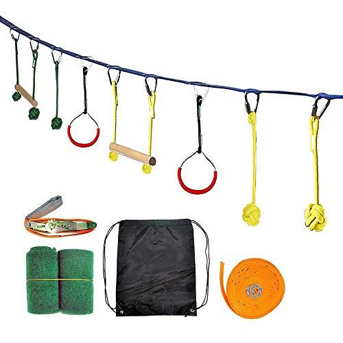 Lumemery Ninja Hindernisparcours-Set, 44 Fuß Ninja Slackline Kids Outdoor-Spielausrüstung Familienspielset mit Baumschutz, Schaukel, Kletterstangen und Tragetasche