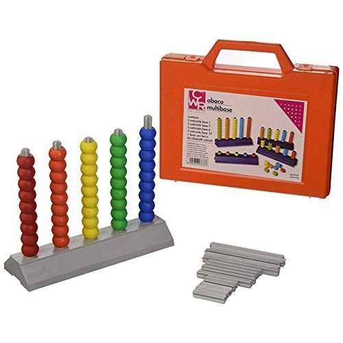 Abaco multibase 5 aste insegnamento matematica sussidio didattico scuole elementare 45 pezzi 1-4-6-10 in plastica e con valigetta