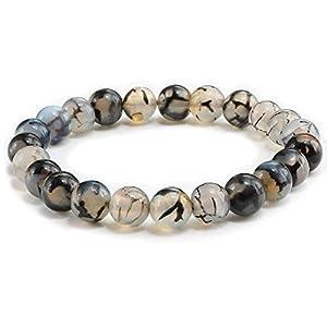 Black Dragon Vein Agate Gemstone Beaded Bracelet