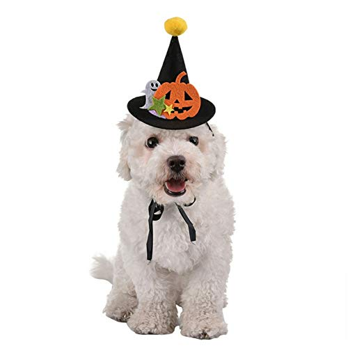 Stock Show Pet Halloween Hat with String and Pom-pom Topper Dog Cat Black Halloween Witch Hat with Pumpkin and Ghost Decor Puppy Cat Hat Headwear Costume Accessory for Dog Cat