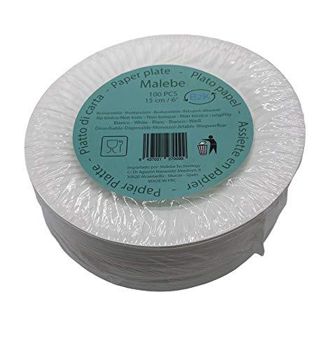 MALEBE B2K Piatto carta bianca confezione 100 pezzi 15 cm bianco usa e getta. Feste, aperitivi,...