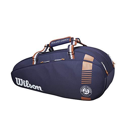 Wilson Bolsa para raquetas de tenis, Roland Garros Team 3, Hasta 3 raquetas, Azul marino/marrón, WR8006801001