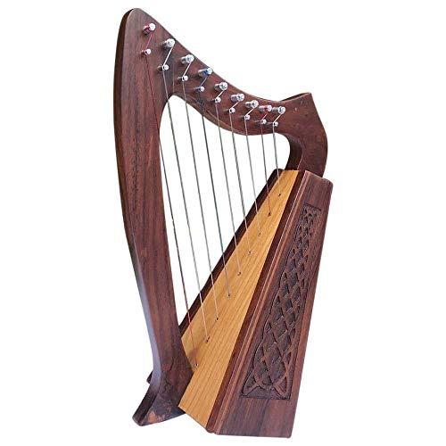 Schottische irische Harfe 9 Saiten Sheesham Holz keltische Harfe Rosenholz inkl. Tragetasche