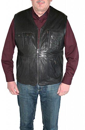 itallo Lederweste Lammleder echt Leder Weste 2827 Dunkelbraun oder schwarz, Farbe:Schwarz, Herren-Größe:54
