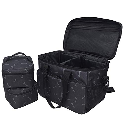 ACAMPTAR Dog Travel Bag - Airline Approved Travel Set for Dogs Stores All Your Dog Accessories -2X Food Storage Containers