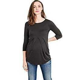 LaClef Women's Round Neck 3/4 Sleeve Front Pleat Peplum Maternity Top