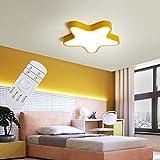 Aione LED Deckenleuchten Cartoon Lichter auf Jungen und Mädchen Sterne Schlafzimmer Licht in Licht Deckenleuchte Augenpflege Kinder Moderne Lampen 3 Größen,Yellow,60cm/42w