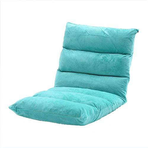 QSLS Bodenstuhl klappbar, Meditationsstuhl mit Verstellbarer Rückenlehne, Faules Sofa gepolstert,6/Velvet/Lake Blue