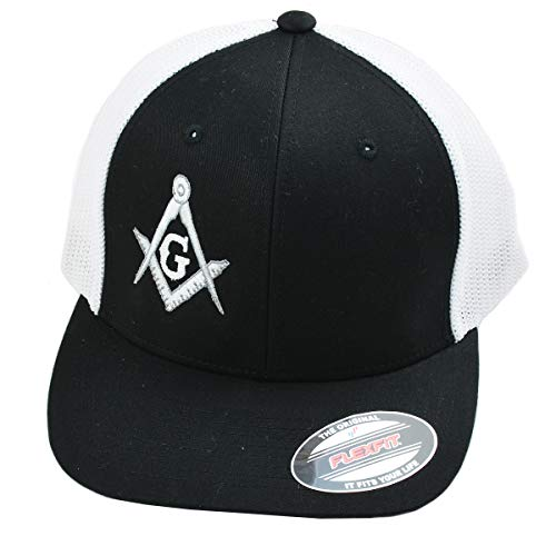 Silver Square & Compass Embroidered Masonic Flexfit Adult Trucker Hat - [Black]