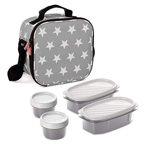 TATAY Urban Food Casual - Bolsa térmica porta alimentos con 4 tapers herméticos incluidos, 3 litros de capacidad, Gris, 22.5 x 10 x 22 cm