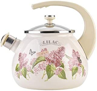 Whistling Tea Kettle Stovetop Lilac Print Enamelware Kettle with Glass Lid 2.7-qt. (2.5 L)
