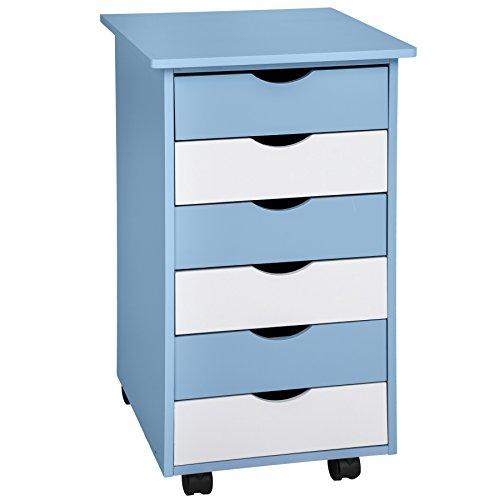TecTake 800055 Rollcontainer mit Rollen und 6 Schubladen - Diverse Farben - (Blau   Nr. 400925)