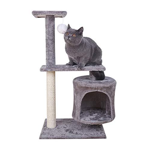 Kratzbaum Kletterbaum Katzenkratzbaum Katzenbaum Höhe 75 cm mit Spielbälle Stabiler Sisalstämmen Kletterbaum Katzenspielzeug für Aktivität zum Spielen von Entspannung (dunkel grau)
