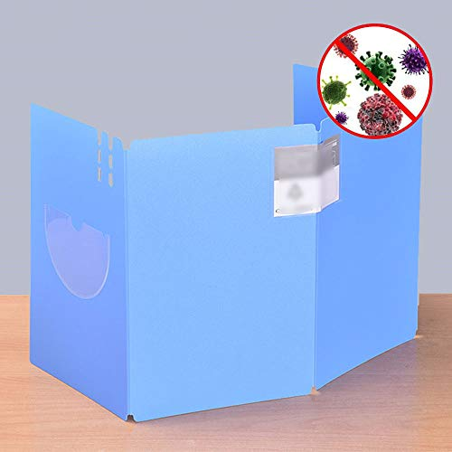 Freestanding Protective Sneeze Guard, Portable Lightweight Shield Guard for Restaurant Classroom, Against Coughing Sneezing, Protects Students & Teacher,Blue