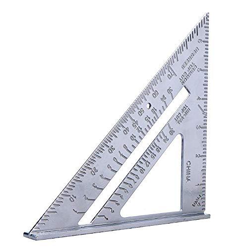 IKAAR - Regla de metal para carpintería cuadrada de carpintería de carpintería cuadrada de 7 pulgadas, aluminio 90 grados 45 grados, regla triangular cuadrada