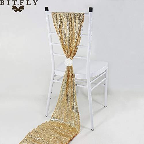 Gouden pailletten lovertjes kwastje kleur tafel 30x275cm vlagdrager tafel rose goud / / goud stijl champagne zilver/luxe bruiloft van het hotel decoratie etentje,30x275cm (12x108in),cha.