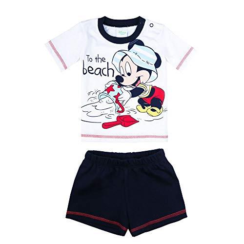 Disney Niños Mickey Mouse Set, Camiseta, Short, Azul, Talla 62, 3 Meses