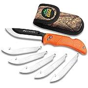 Outdoor Edge RazorLite - Replaceable Blade Folding Hunting Knife with Rubberized Nonslip TPR Handle, 6-Blades and Nylon Belt Sheath (Orange)