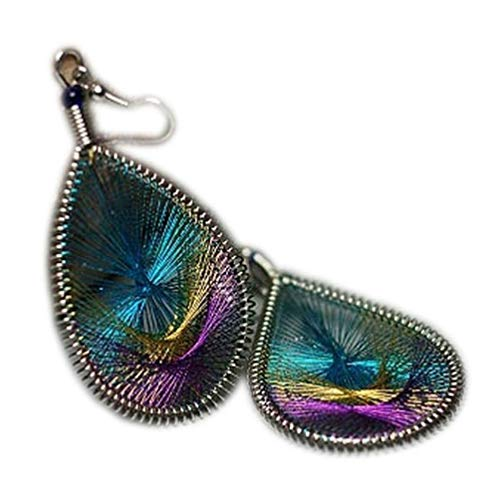 Fliyeong Premium Quality Women Ethnic Style Dangle Earrings Anti Allergy Gold Thread Peacock Tail Water Drop Jewelry Gift