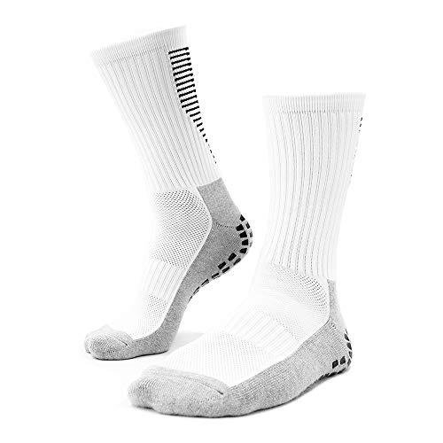 Playwear Fußball Socken rutschfest Weiß | 1 Paar 40-46 Herren Grip Socks | Anti Slip Strumpf mit Sport Sneaker Fit für Trekking Wandern Basketball Tennis Football