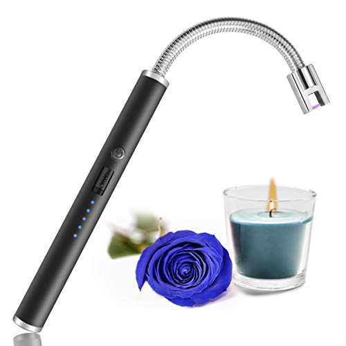 Candle Lighter, USB Charging Electric Arc Lighter with LED Power Display, Rotatable Long Neck Lighter Suitable for Lighting Candles, Camping, Cooking, Barbecue Fireworks (Black)