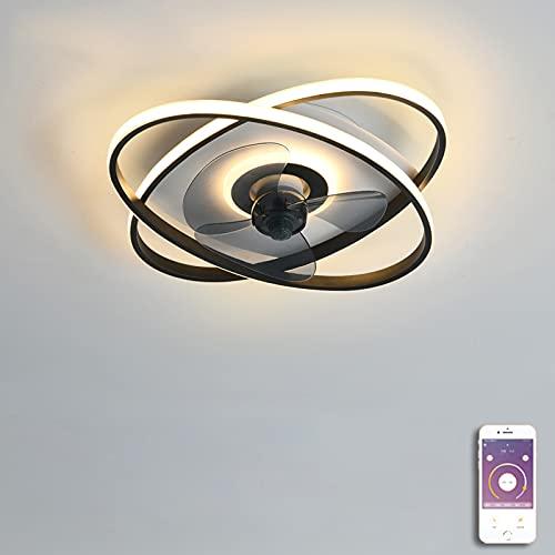 VOMI LED Ventilador de Techo con Iluminación Control Telefónico APP Silencioso Ventilador Luz de Techo Moderna Regulable Lámpara de Techo Puede Ser Cronometrado para Dormitorio Sala de Estar Negro