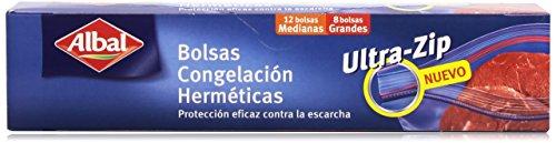 Albal Bolsas de congelación, ULTRA-ZIP, cierre hermético, tamaño pequeño (1L) y mediano (3L), 20 unidades
