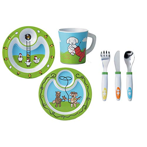 Emsa - Juego de accesorios para principiantes (6 piezas) Farm Family - Plato infantil con cubertería