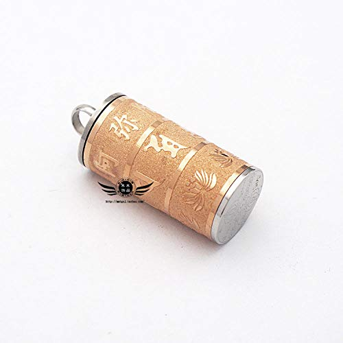 Relovsk Titanium stalen ketting leert zes-karakter Mantra Rhyme buis gouden hanger titanium staal ketting Rose goud (zonder ketting)