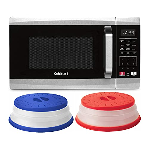 Cuisinart CMW-70 Microwave Oven with Collapsible Microwave Food Covers (Red and Stratus Blue Vented) Bundle (3 Items)