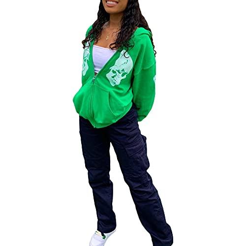 Sudadera con capucha de gran tamaño con cremallera para mujer, chaquetas casuales para mujer, estampado de calavera, sudadera con cremallera para mujer, ligera con bolsillo, verde, S