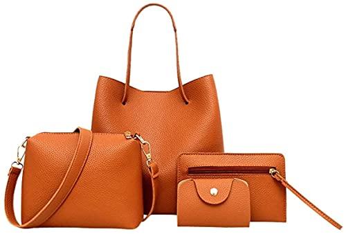 MRZJ Juego de 4 bolsos de mano para mujer (bolso grande, bandolera, monedero y tarjetero), color marrón