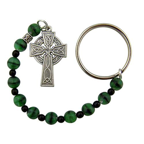 Green Glass Prayer Beads One Decade Rosary with Celtic Cross Key Ring or Bag Clip