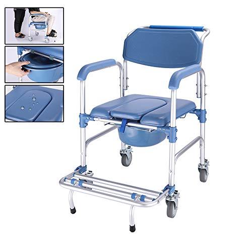 GHzzY Medizinischer wasserdichter Duschstuhl mit Bremsen - Fahrbar Toiletten für ältere Menschen und Behinderte - Toilettenstuhl mit Rollen, Eimer und Fußstützen