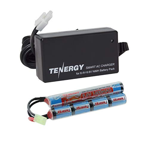 Tenergy Airsoft Battery 9.6 V 1600mAh NiMH Nunchuck Battery w/Mini Tamiya Connector Stick Shape Butterfly Battery for Airsoft Gun/Airsoft Rifle + 8.4V-9.6V NiMH Battery Charger w/Mini Tamiya Connect