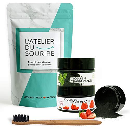 2 poudres de blanchiment L'ATELIER DU SOURIRE + brosse a dents en bambou naturel - charbon actif 15g x2 - dents naturellement blanches [blanchiment des dents].