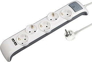 Electraline 62506 Bridge Steckdosenleiste 5-Fach mit Schalter  2 USB, Kabel 2m / Mehrfachsteckdose/Tischsteckdose Steckerleiste, Weiß