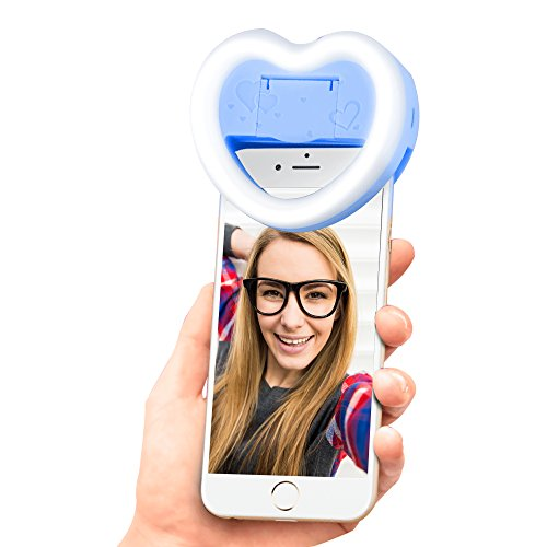 Photo Enhancing Selfie Light, Super Radiant 23 LED Lights Clip-On Heart-Shaped Ring Fill Light with Makeup Mirror 3 Brightness Mode for Smartphones (Blue)