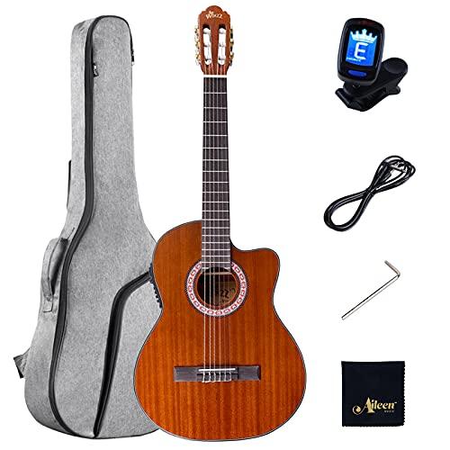 Winzz Konzertgitarre 4/4 Erwachsene, Elektro-klassische Gitarre Cutaway 39 Zoll mit Eingebautem 4 Band EQ (Equalizer)